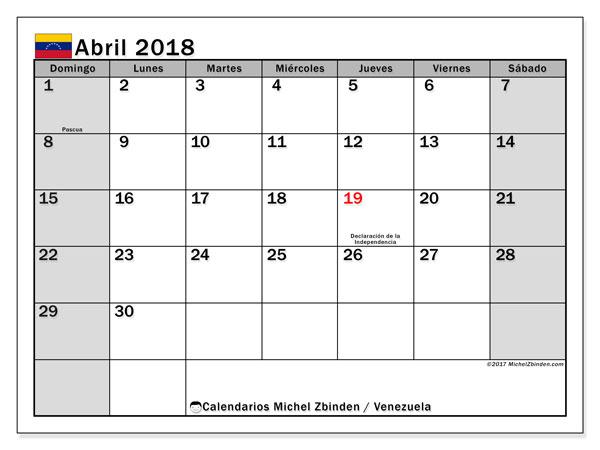 Calendario abril 2018, con los días feriados para Venezuela. Planificación para imprimir gratis.