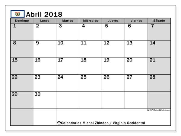 Calendario abril 2018, con los días feriados de Virginia Occidental. Calendario para el mes para imprimir gratis.