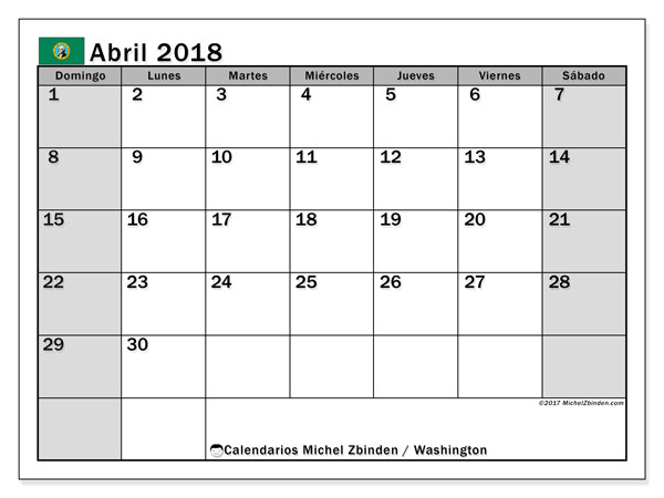 Calendario abril 2018, con los días feriados en Washington. Calendario gratuito para imprimir.