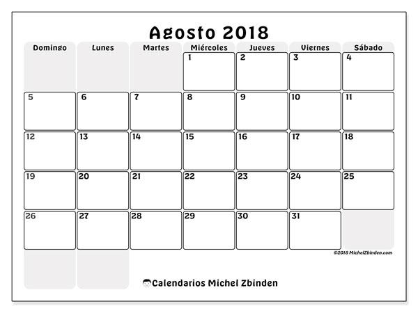 Calendario agosto 2018 (44DS). Calendario para el mes para imprimir gratis.
