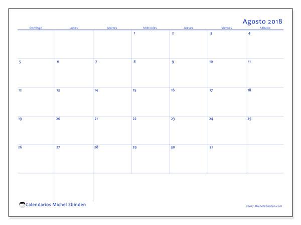 Calendario agosto 2018 (55DS). Almanaque para imprimir gratis.