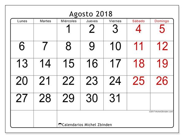 b44d94492 Calendario agosto 2018 (62LD). Calendario para imprimir gratis.