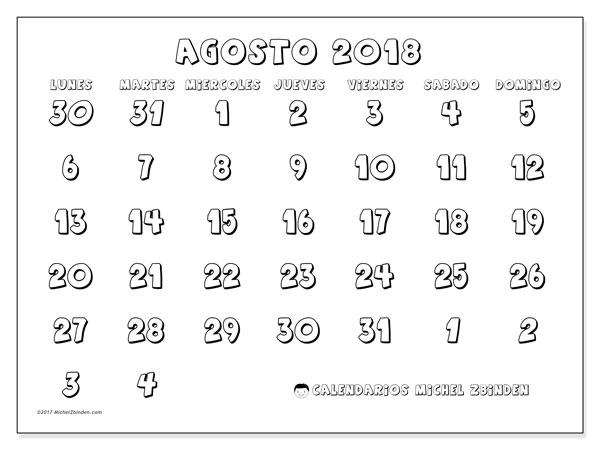 Calendario agosto 2018 (71LD). Planificación para imprimir gratis.
