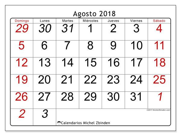 Calendario agosto 2018 (72DS). Calendario gratuito para imprimir.
