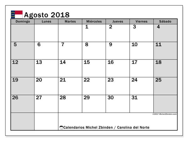 Calendario agosto 2018, con los días feriados en Carolina del Norte. Calendario imprimible gratis.