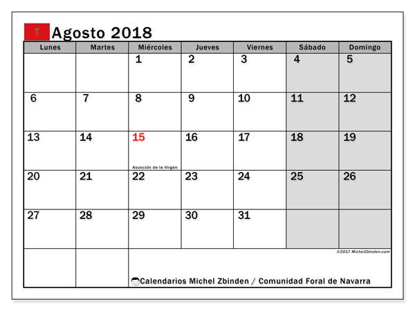 Calendario agosto 2018, con los días festivos para la Comunidad Foral de Navarra. Planificación para imprimir gratis.