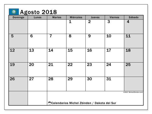 Calendario agosto 2018, con los días feriados de Dakota del Sur. Calendario para el mes para imprimir gratis.