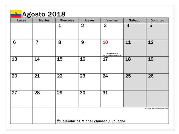 Calendario agosto 2018, con los días feriados para Ecuador. Calendario mensual para imprimir gratis.