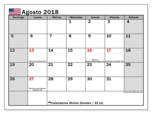 Calendario agosto 2018, con los días feriados en EE.UU.. Calendario para el mes para imprimir gratis.