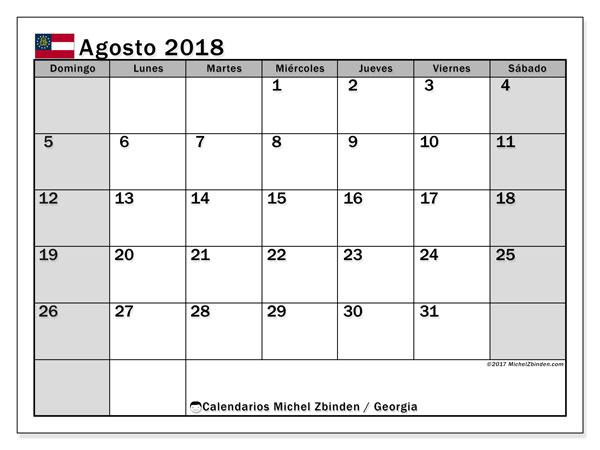 Calendario agosto 2018, con los días feriados de Georgia. Calendario mensual para imprimir gratis.