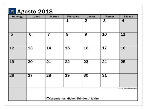 Calendario agosto 2018, con los días feriados de Idaho. Calendario para imprimir gratis.