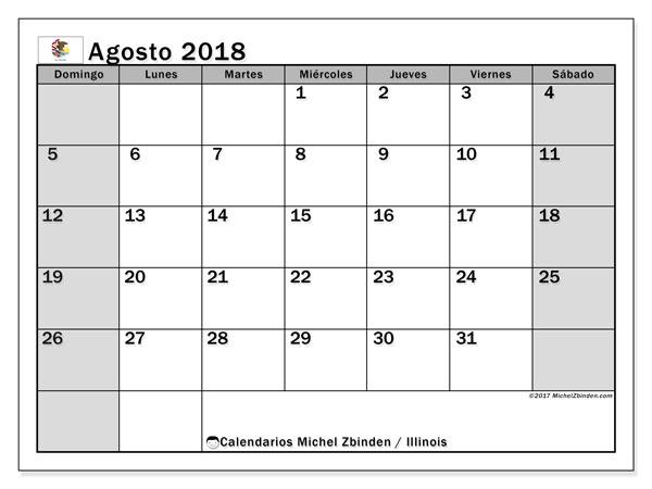 Calendario agosto 2018, con los días feriados en Illinois. Almanaque para imprimir gratis.