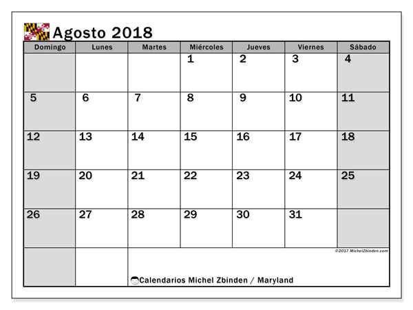 Calendario agosto 2018, con los días feriados en Maryland. Calendario para imprimir gratis.