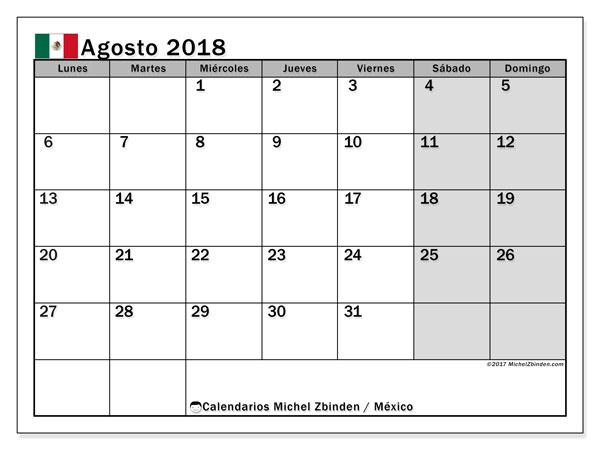 Calendario agosto 2018, con los días feriados en México. Calendario mensual para imprimir gratis.