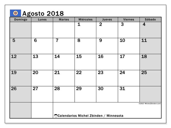 Calendario agosto 2018, con los días feriados de Minnesota. Calendario mensual para imprimir gratis.
