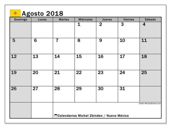 Calendario agosto 2018, con los días feriados en Nuevo México. Calendario para imprimir gratis.