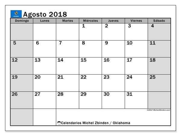 Calendario agosto 2018, con los días feriados de Oklahoma. Calendario imprimible gratis.