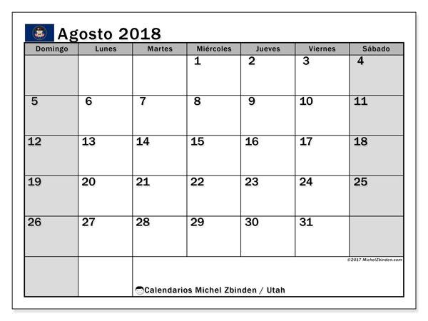 Calendario agosto 2018, con los días feriados en Utah. Calendario gratuito para imprimir.