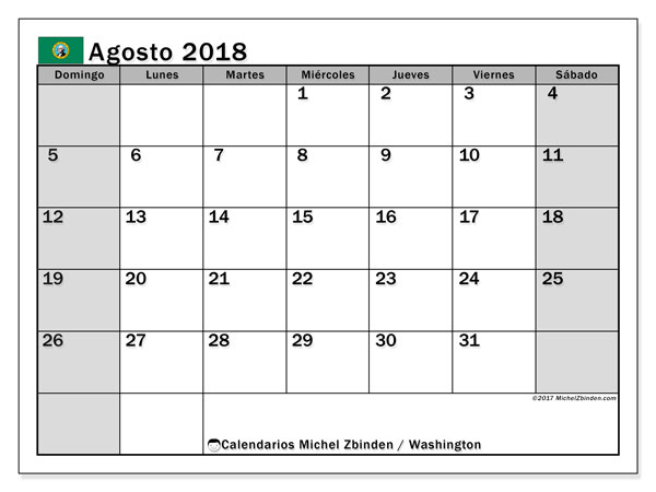 Calendario agosto 2018, con los días feriados en Washington. Calendario imprimible gratis.