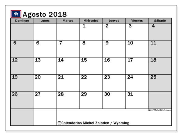 Calendario agosto 2018, con los días feriados en Wyoming. Calendario mensual para imprimir gratis.