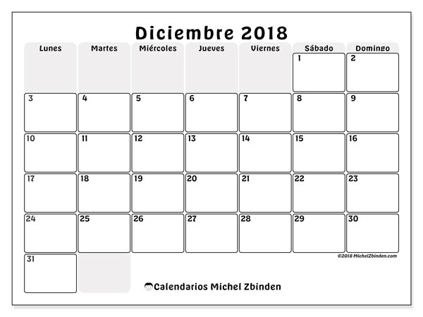 Calendario diciembre 2018 (44LD). Almanaque para imprimir gratis.