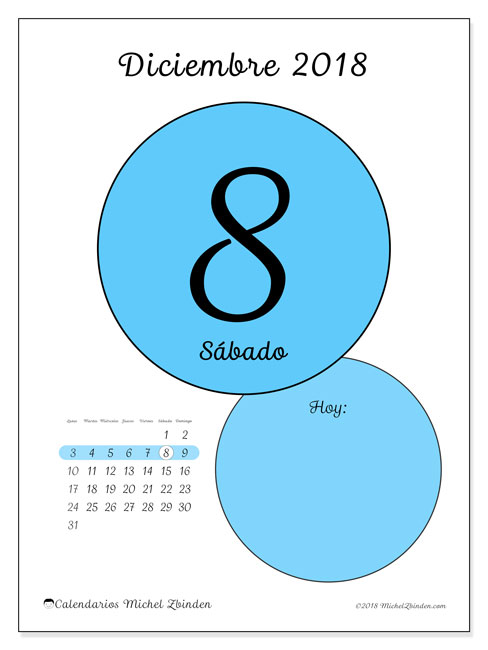 Calendario diciembre 2018 (45-8LD). Calendario para el día para imprimir gratis.