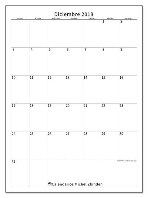 Calendario diciembre 2018 (52LD). Calendario gratuito para imprimir.