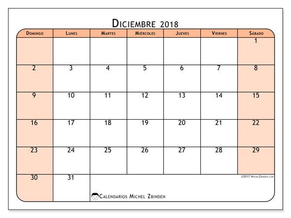 Calendario diciembre 2018 (61DS). Calendario gratuito para imprimir.