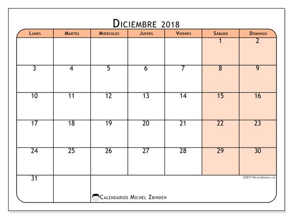 Calendario diciembre 2018 (61LD). Calendario para imprimir gratis.