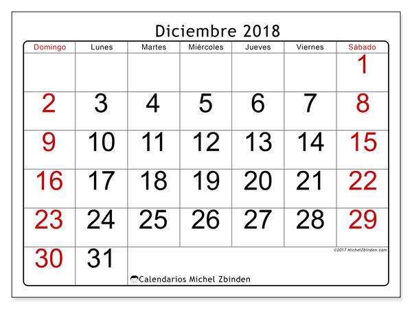 Calendario diciembre 2018 (62DS). Planificación para imprimir gratis.
