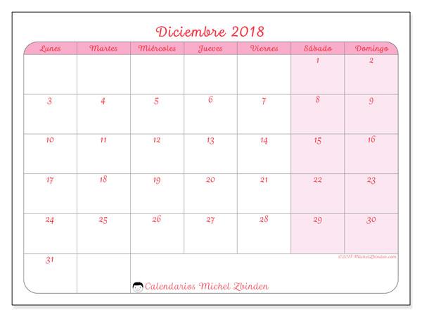 Calendario diciembre 2018 (63LD). Calendario para imprimir gratis.