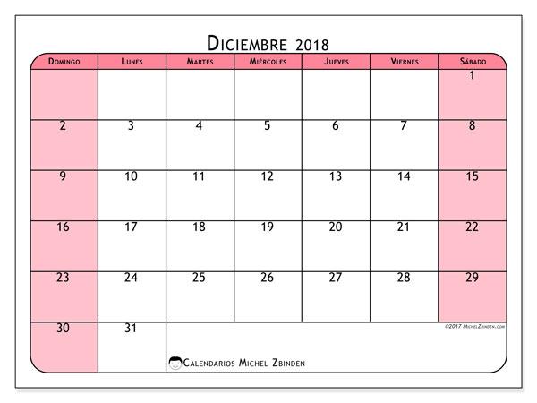 Calendario diciembre 2018 (64DS). Almanaque para imprimir gratis.