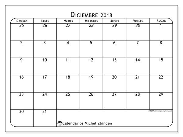 Calendario diciembre 2018 (67DS). Calendario mensual para imprimir gratis.