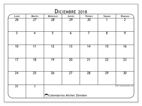 Calendario  diciembre de 2018, 67LD