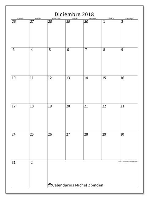 Calendario  diciembre de 2018, 68LD