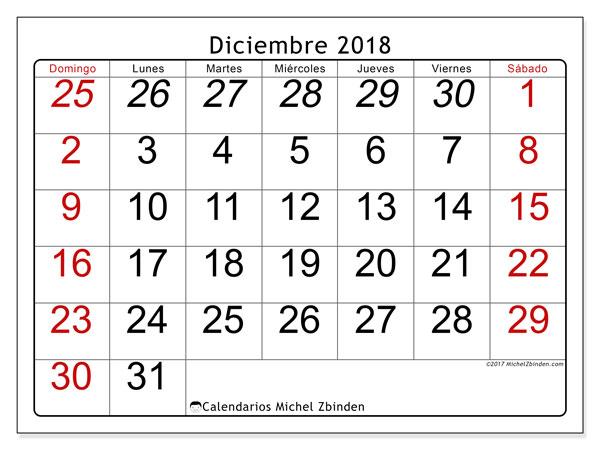 Calendario diciembre 2018 (72DS). Planificación para imprimir gratis.