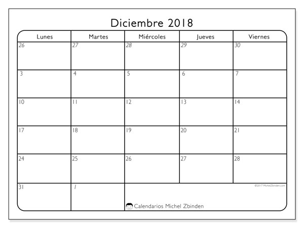 Calendario diciembre 2018 (74LV). Almanaque para imprimir gratis.