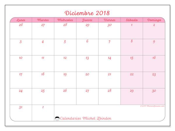 Calendario diciembre 2018 (76LD). Almanaque para imprimir gratis.