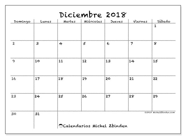 Calendario diciembre 2018 (77DS). Almanaque para imprimir gratis.