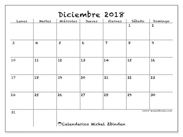Calendario  diciembre de 2018, 77LD