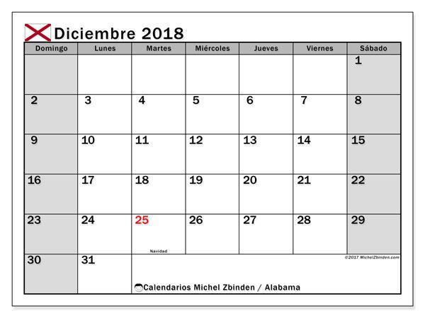 Calendario diciembre 2018, con los días feriados en Alabama. Calendario para imprimir gratis.