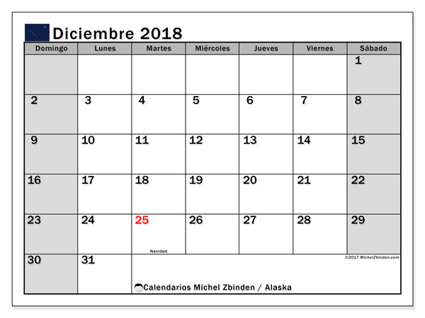 Calendario diciembre 2018, con los días feriados en Alaska. Calendario mensual para imprimir gratis.