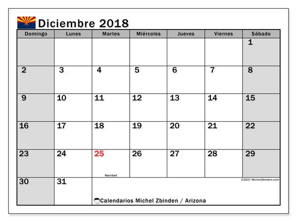 Calendario diciembre 2018, con los días feriados en Arizona. Calendario para imprimir gratis.
