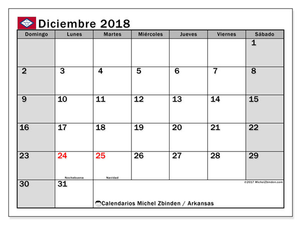 Calendario diciembre 2018, con los días feriados de Arkansas. Calendario mensual para imprimir gratis.