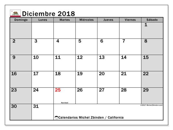 Calendario diciembre 2018, con los días feriados en California. Calendario imprimible gratis.