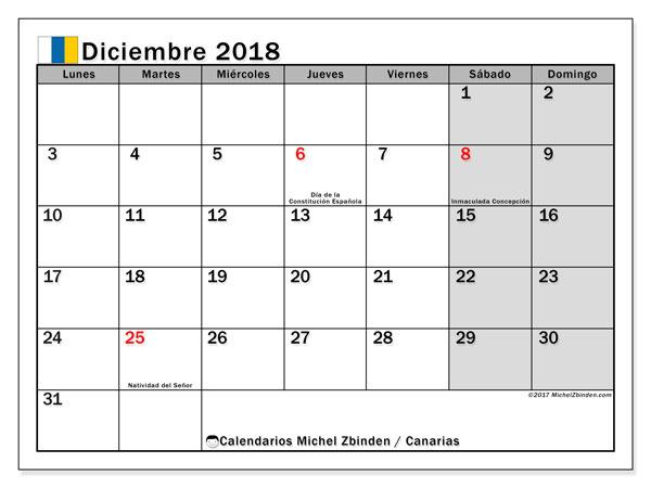 Calendario diciembre 2018, con los días festivos de las Islas Canarias. Calendario mensual para imprimir gratis.