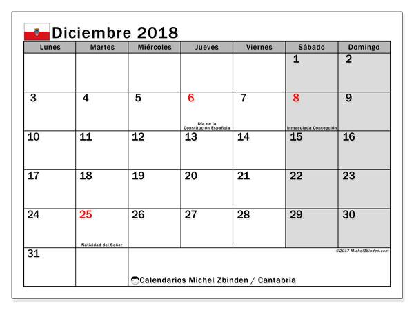 Calendario diciembre 2018, con los días festivos de Cantabria. Calendario mensual para imprimir gratis.