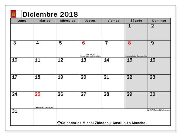 Calendario diciembre 2018, con los días festivos de Castilla-La Mancha. Calendario para el mes para imprimir gratis.