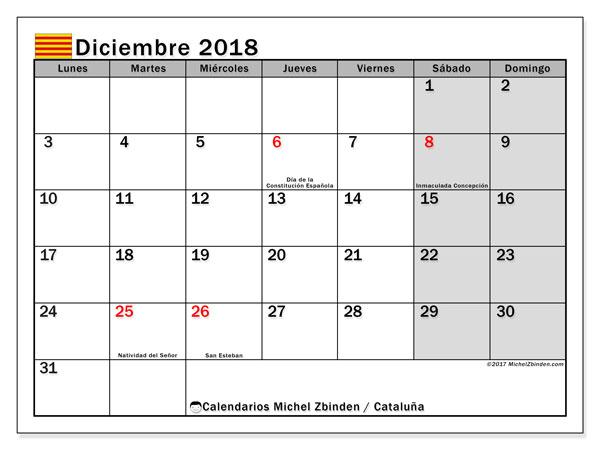 Calendario diciembre 2018, con los días festivos de Cataluña. Calendario para el mes para imprimir gratis.