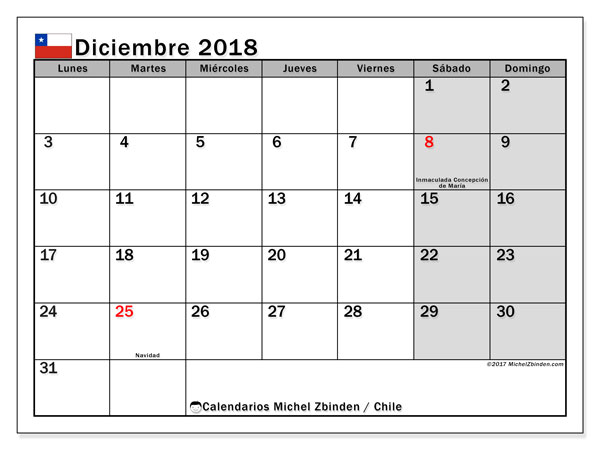 Calendario diciembre 2018, con los días feriados para Chile. Calendario mensual para imprimir gratis.